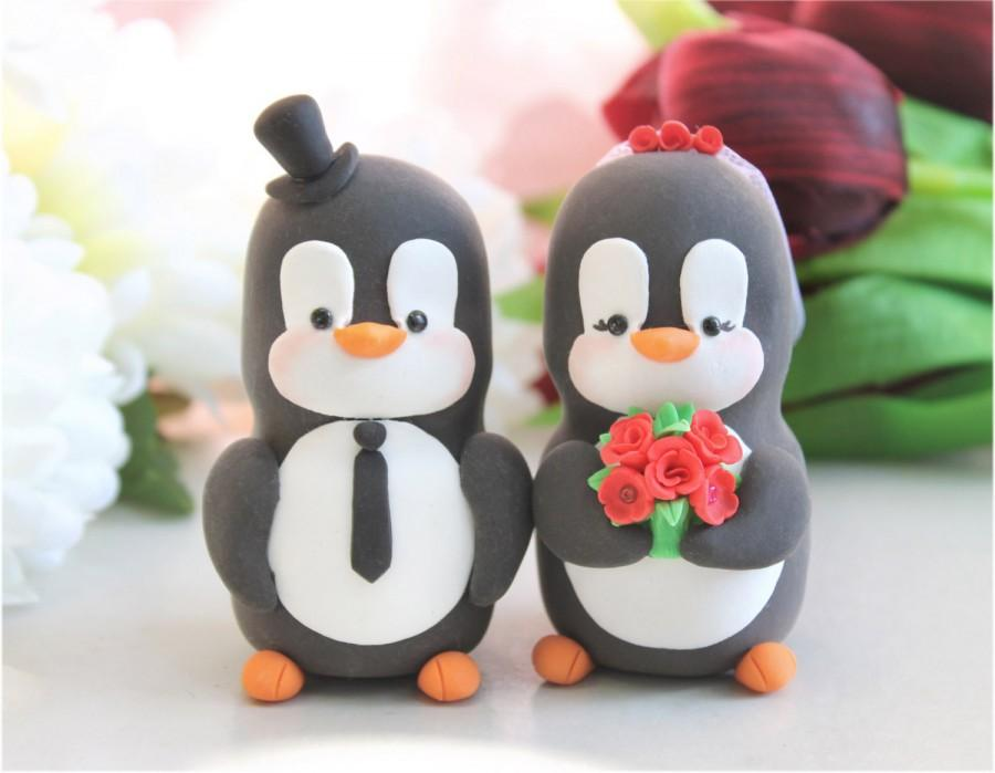 Wedding - Custom Penguin cake toppers wedding - LARGER size - bride groom figurines animals cute unique funny gift for penguins lover red yellow black