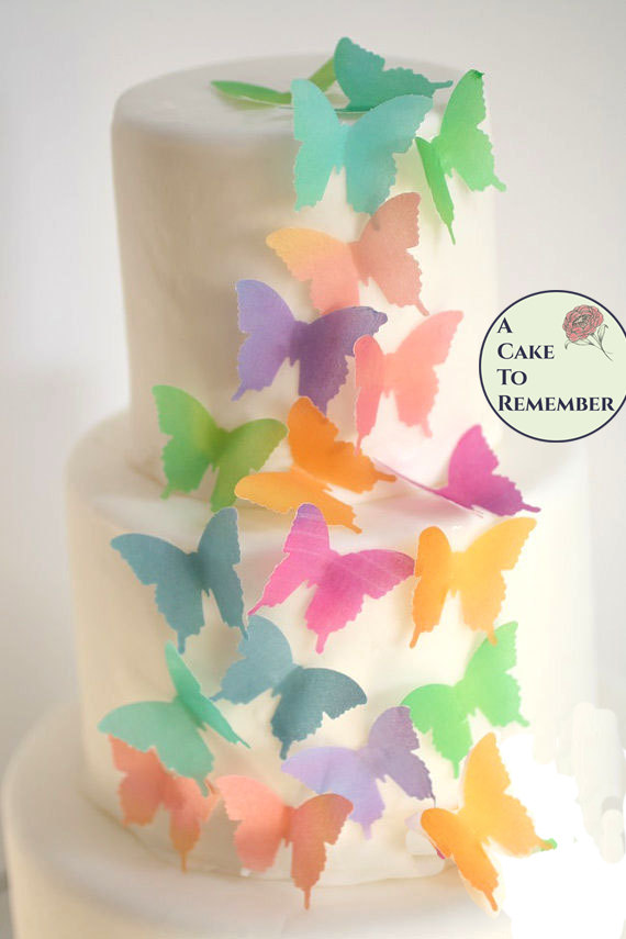 Edible Butterflies 24 Watercolor Wafer Paper For Wedding Cake Topper Decorating Cupcake And Cookie