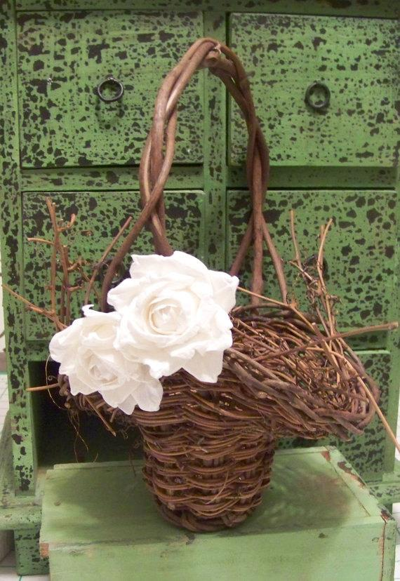 Mariage - Rustic Flower Girl's Basket with Paper Roses-in Different Colors