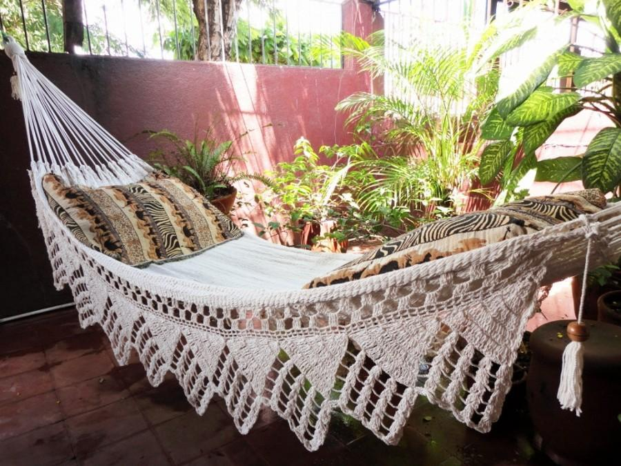 Hochzeit - One Color Beige Single Hammock Hand-Woven Natural Cotton Triangle Fringe