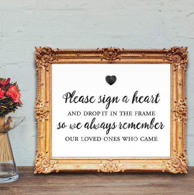 Wedding Guest Book Sign - Please Sign A Heart And Drop It In The ...
