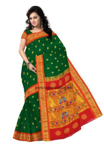 Wedding - Green South Kadiyal Paithani Silk Sarees