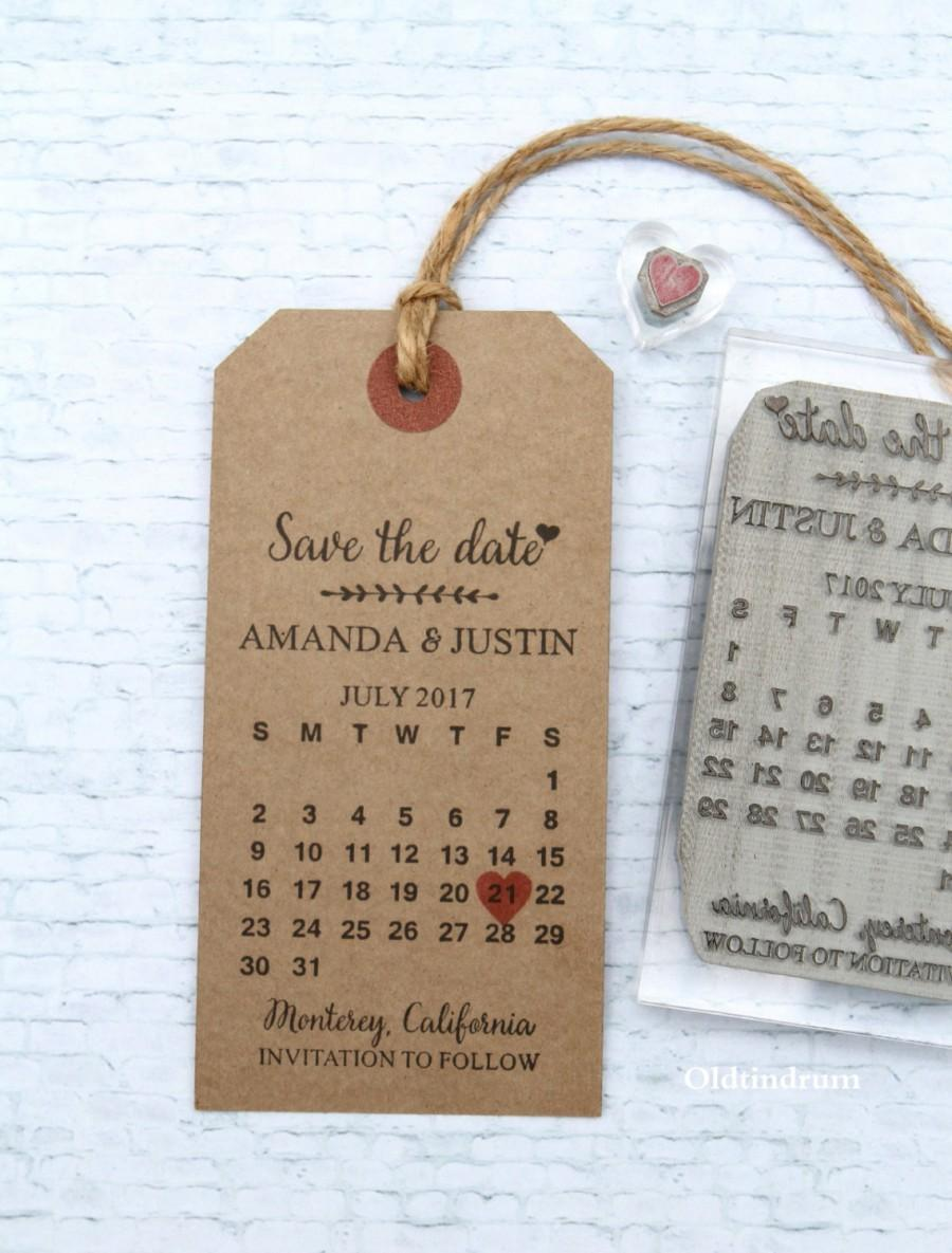 Save The Date Calendar. UK Rubber Stamp. Wedding Invitation. Custom ...