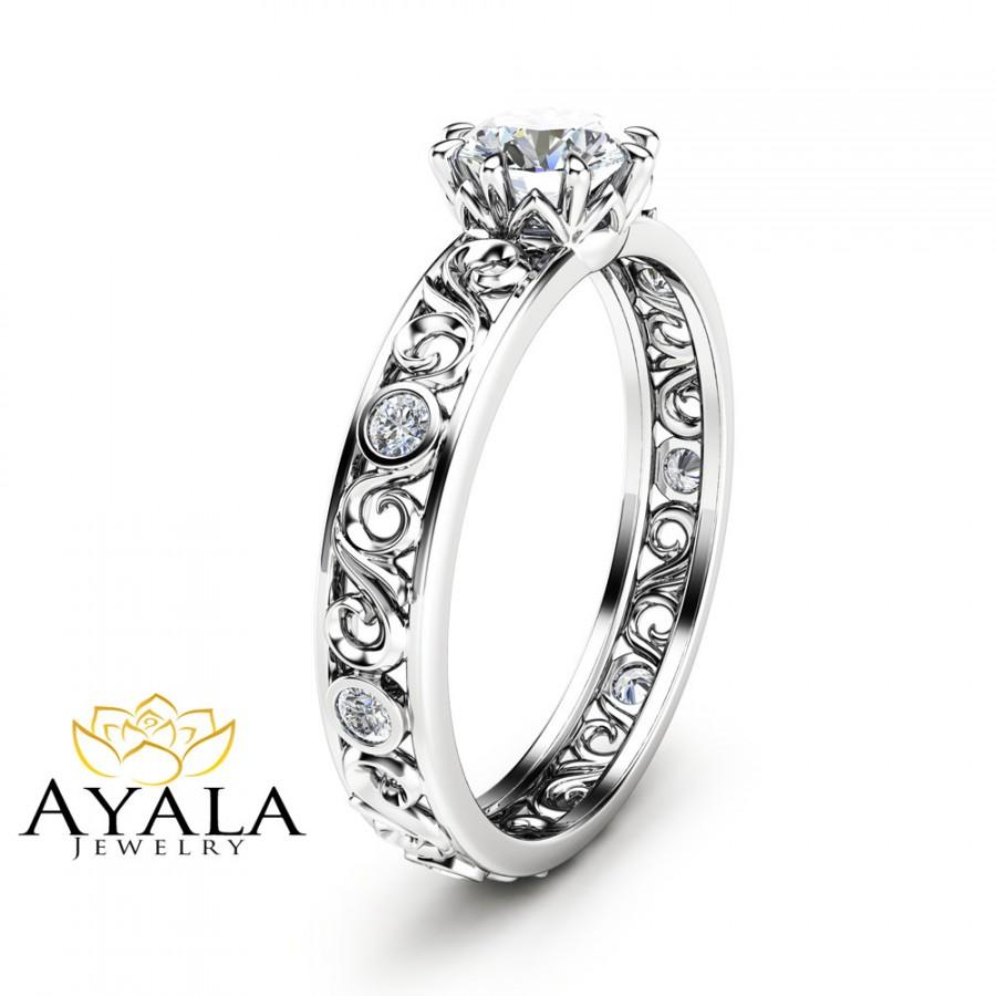 Mariage - Round Cut Diamond Engagement Ring Unique  Filigree Ring in 14K White Gold Diamond  Custom Ring Art Deco Styled Engagement Ring