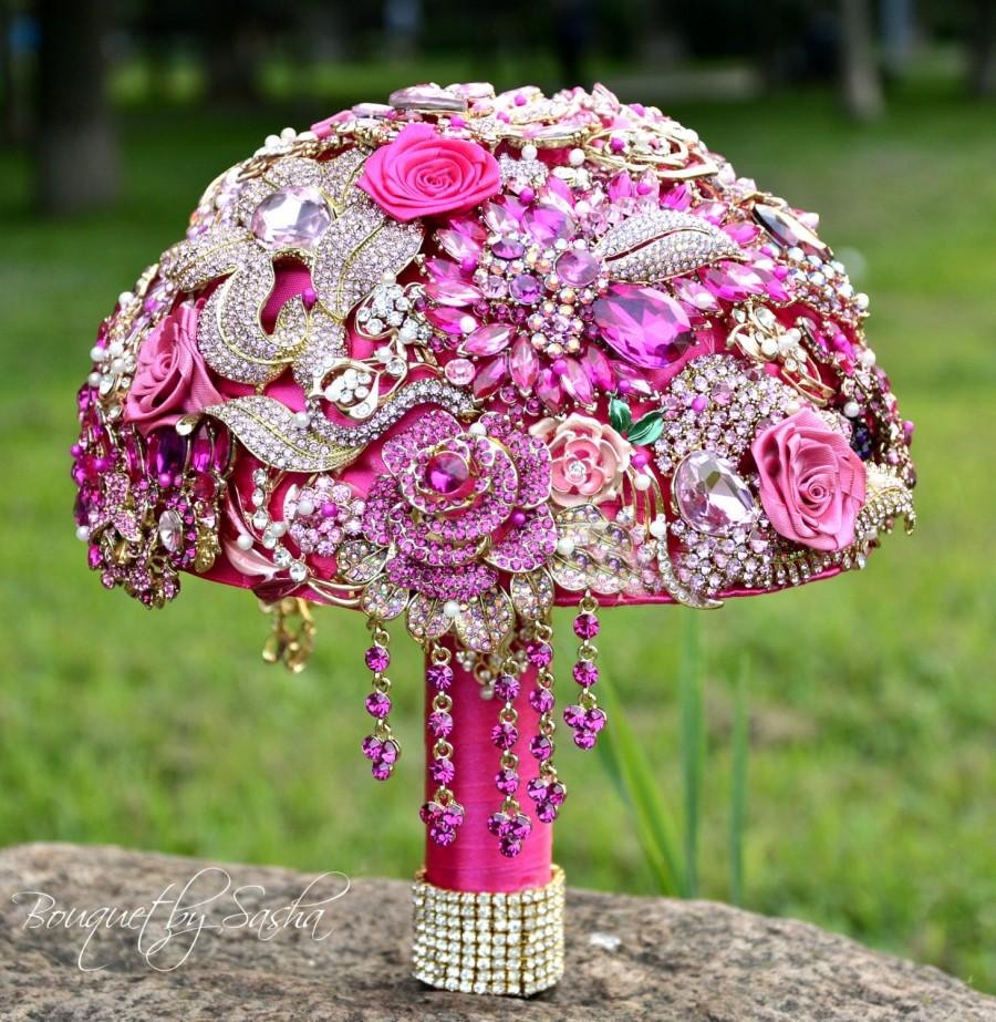 Fuchsia Gold Wedding Brooch Bouquet Pink Jewelry Bridal