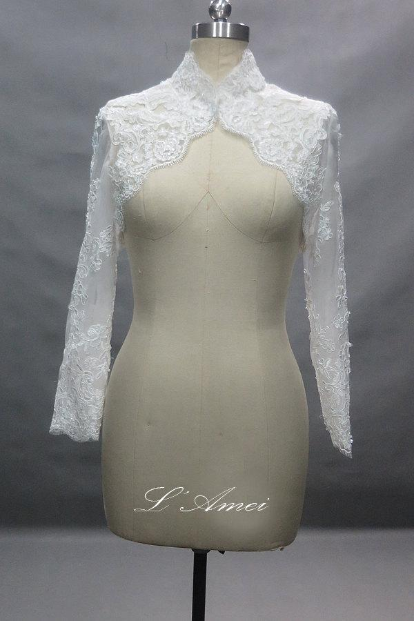 Mariage - Long Sleeve French Lace Bridal Bolero Shrug Wedding Jacket Available in Ivory-White or Pure White
