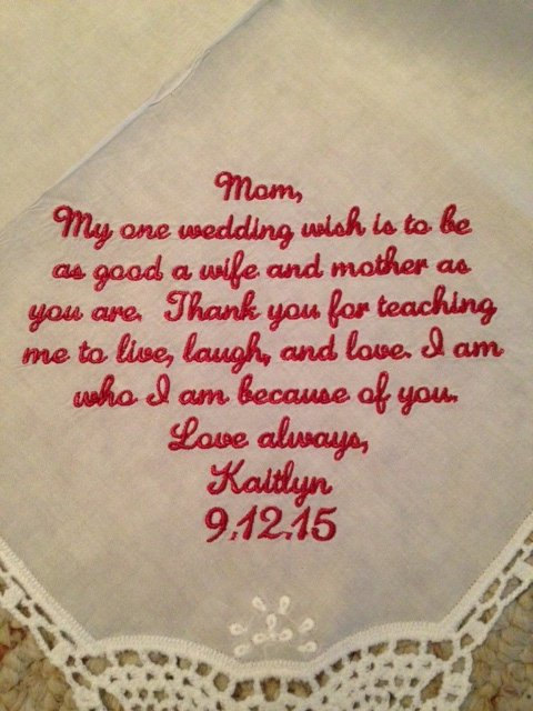Mariage - Wedding Handkerchief - Mother of the Bride Gift - My one wedding wish - Wedding gift for Mom Hankerchief