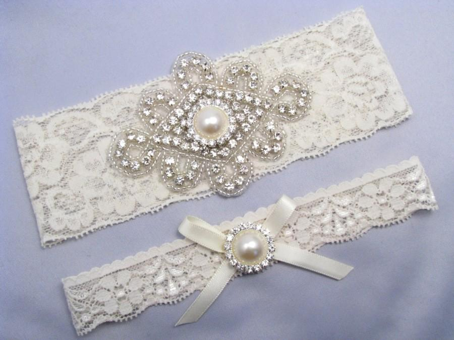 Wedding - Wedding Garter, Bridal Garter, Ivory / Off White Lace Garter Set, Crystal Rhinestone Garter, Something Blue Custom Garter, Pearl Garter