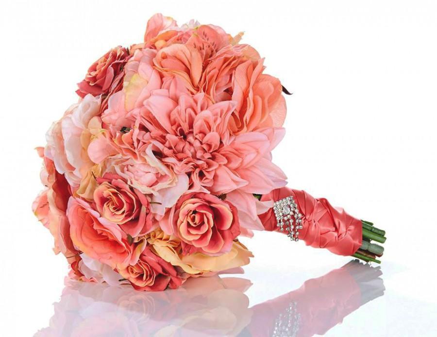 زفاف - SALE Coral Kisses Bridal Bouquet