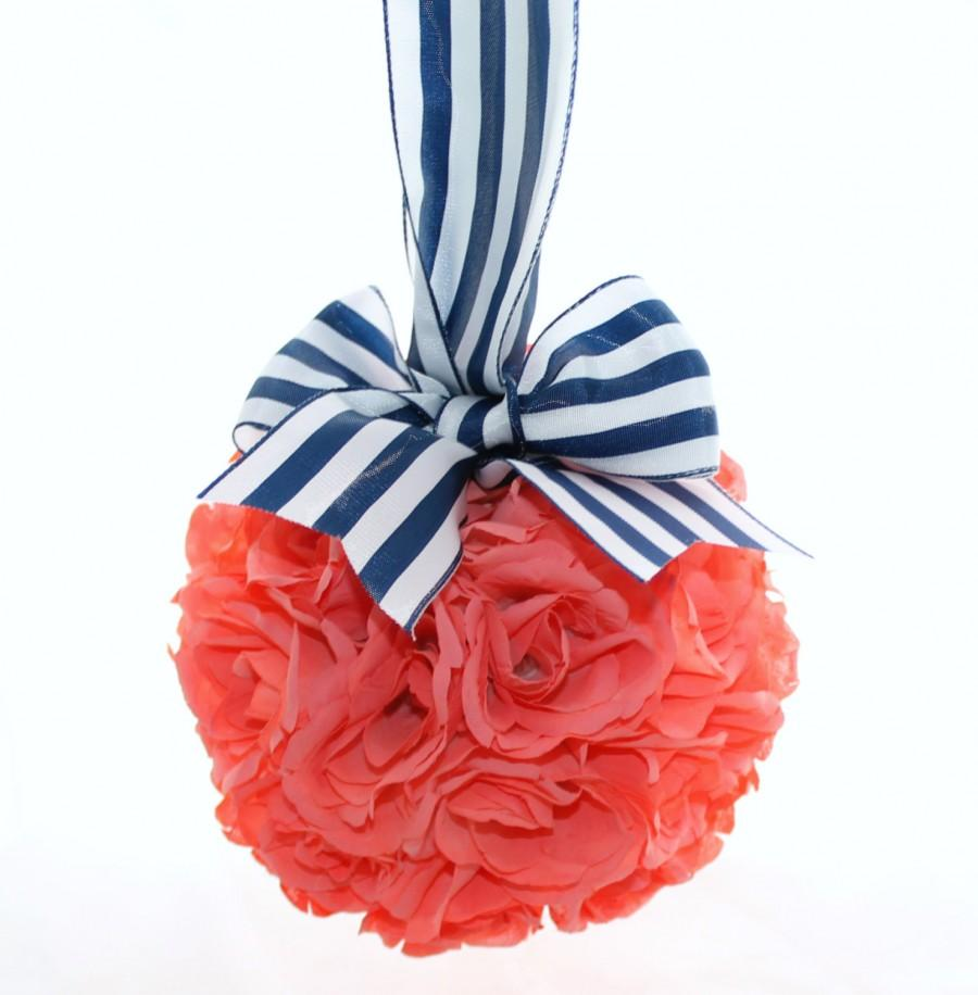 Свадьба - Nautical Bright Coral Rose Pomander