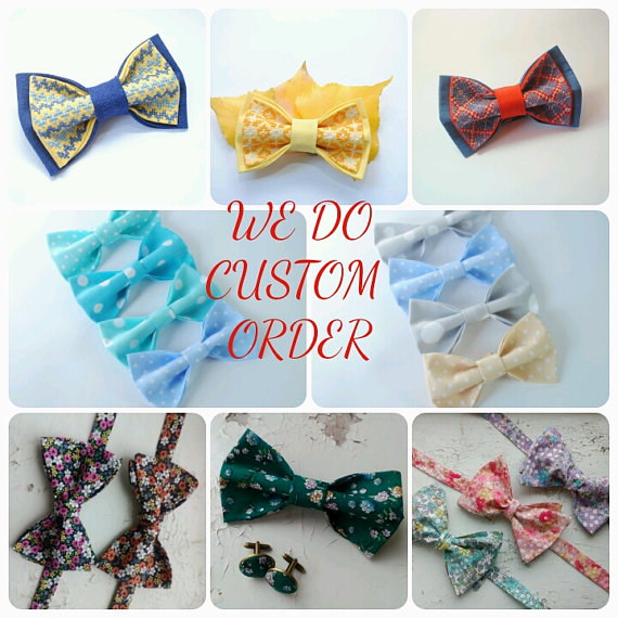 Mariage - WE DO CUSTOM order bow tie wedding tie self tie bow ties matching handkerchief matching cuff links designed by Accesories482 unique design