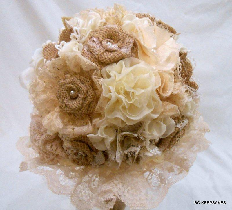 Свадьба - Burlap Wedding Bouquet, Bridal Bouquet, Fabric Bouquet, Burlap Bouquet, Rustic Bouquet, Vintage Bouquet, Burlap and Lace,