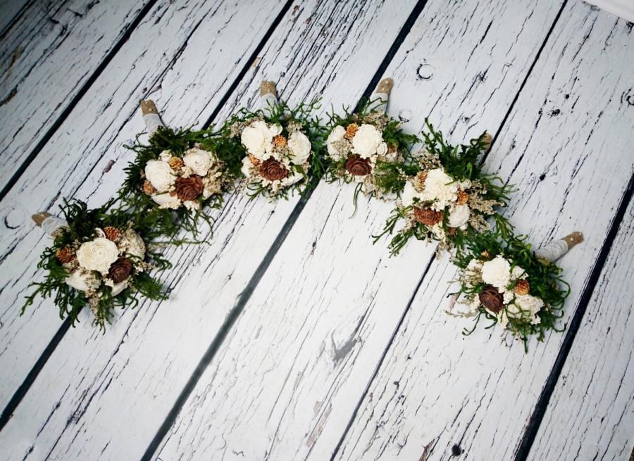 زفاف - SET OF 6 Small cream green brown rustic wedding BOUQUET Ivory Flowers, preserved cypress, Burlap, Flower girl, Bridesmaids, small toss