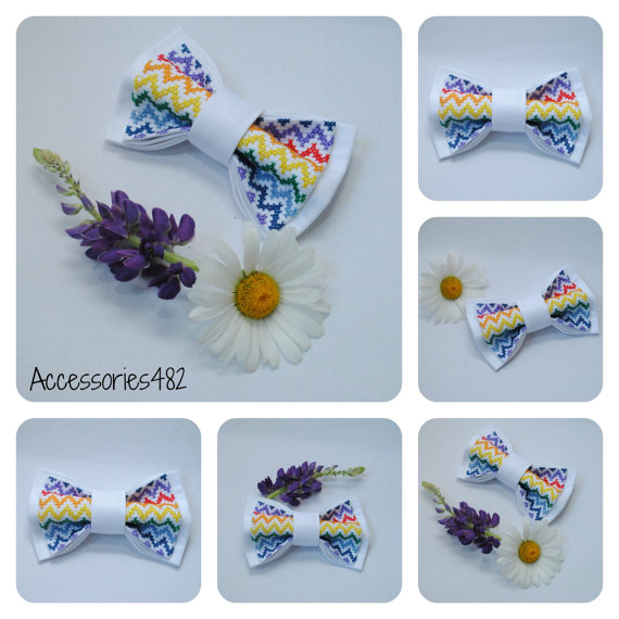 Свадьба - mens bow tie embroidered rainbow chevron bowtie groom white wedding tie summer weddings gift colorful necktie groomsmen bow ties laços PBW1