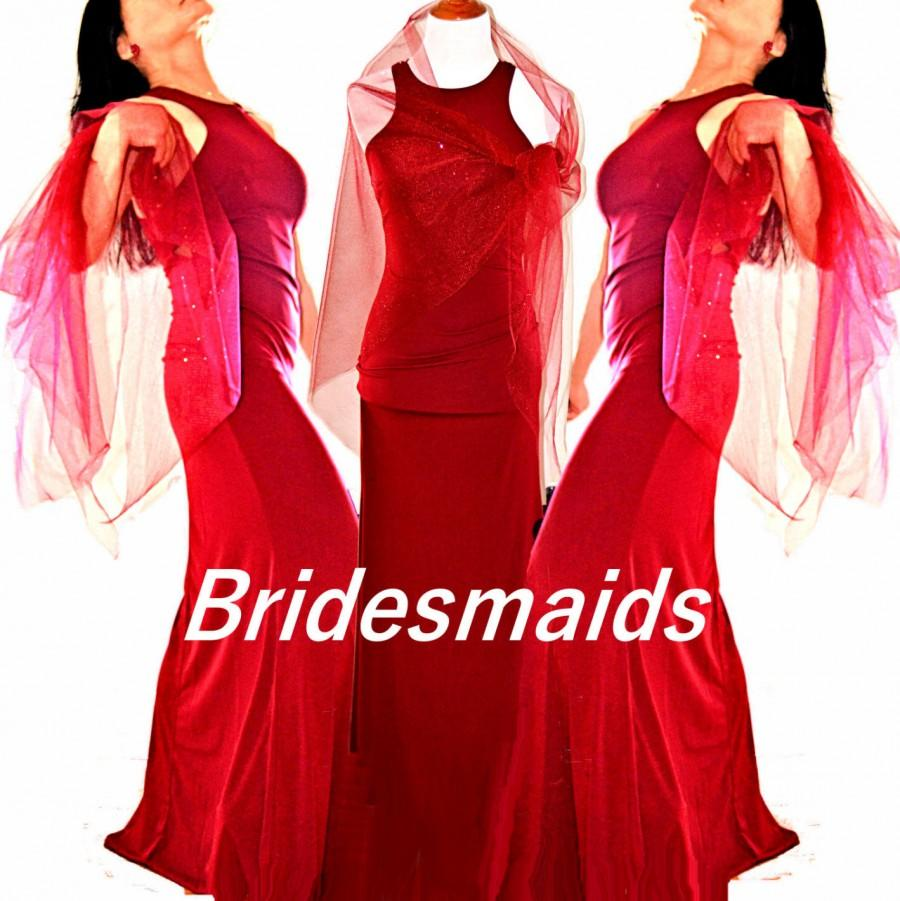 Mariage - Red Bridesmaid dress, red bridal wraps, bridal cover ups, bridal dresses,  burgundy dress, party dresses, prom dresses, evening gowns,