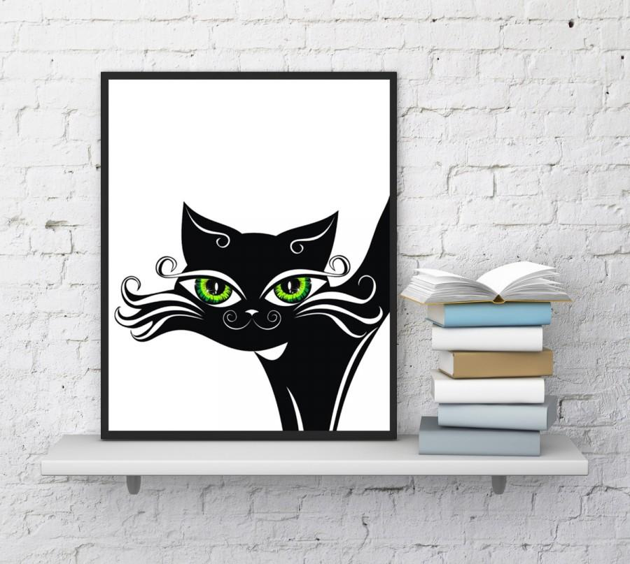 Cat Print, Beautiful Black Cat, Cat Wall Art, Baby Nursery, Sly Cat, Funny  Cats , Cat Print, Cat Portrait, Painting, Art, Instant Download