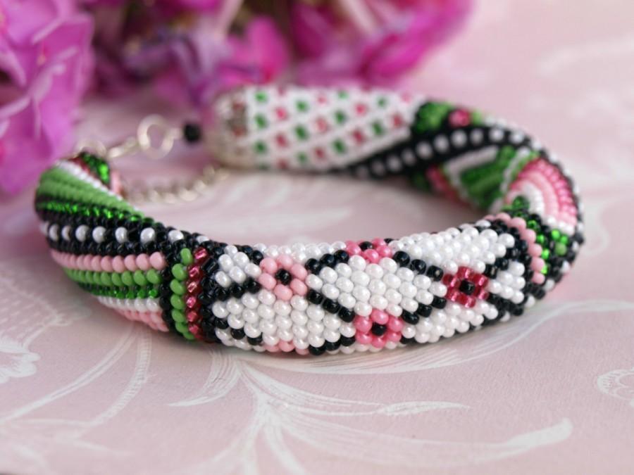 Seed Bead Bracelet Rose Flower Bracelet Bead Crochet Bracelet Rose