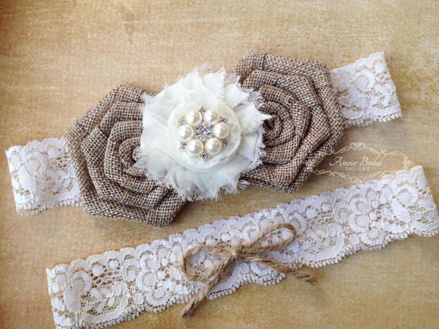 Свадьба - Rustic wedding garter, burlap garter, bridal garter set, jute and lace garter, shabby chic garter, country wedding garter, garters, weddings