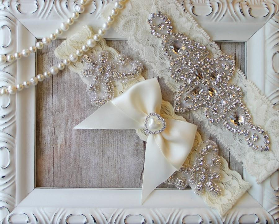 "Mariage - Customize Your Set - Garter - Wedding garter - Garter Set w/ ""Pearls"" and Rhinestones, Wedding Garter Set, Crystal Garter, Something Blue"