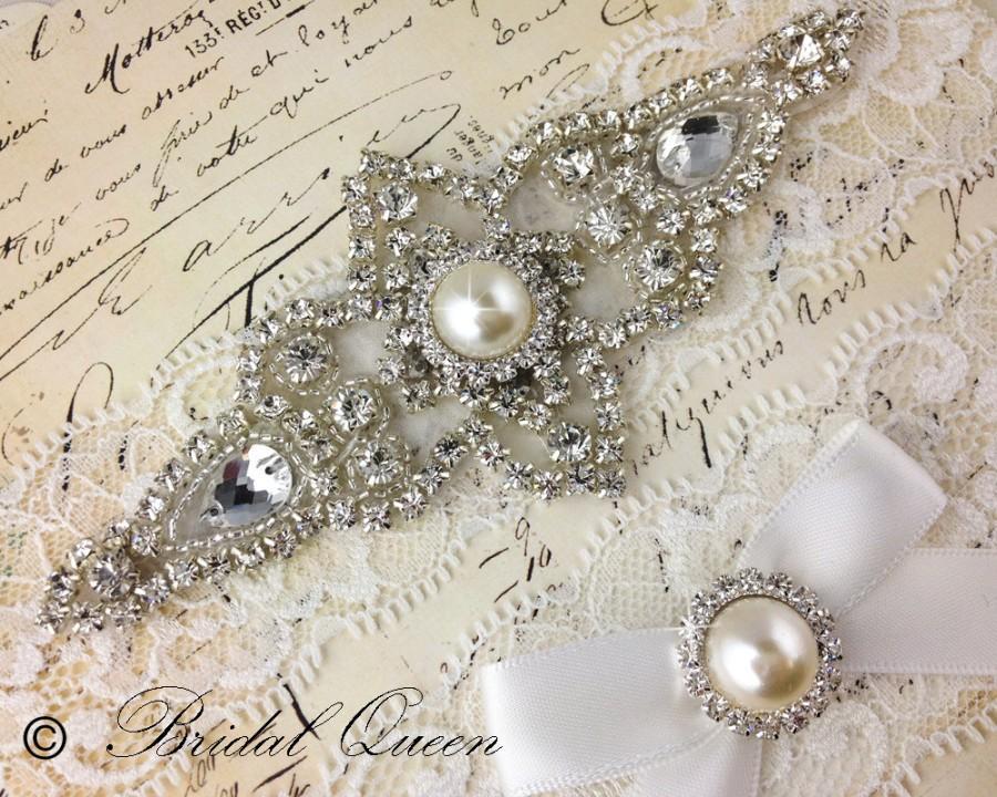 Hochzeit - Wedding garter set,  Bridal Garter set, Lace Garter, Crystal Garter, Garter, Rhinestone Garter, White Garter