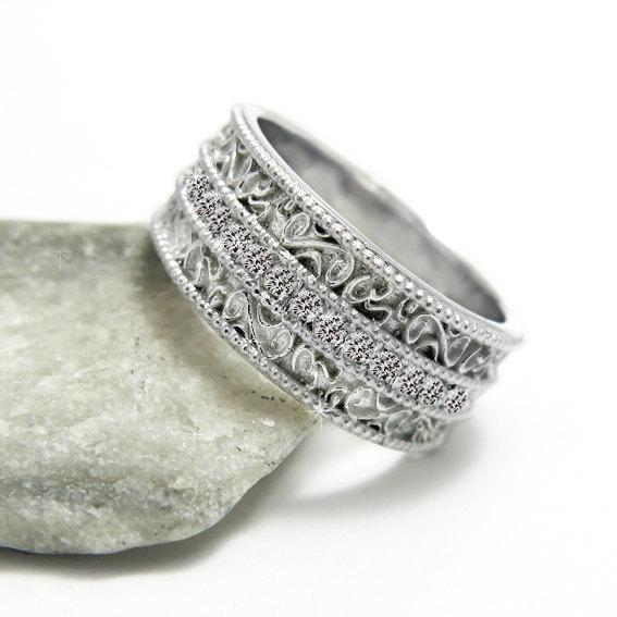 Свадьба - Diamond Filigree Gold Wedding Band, OM Eternity Ring, Patterned Wedding Ring, Full Eternity Diamond Ring.