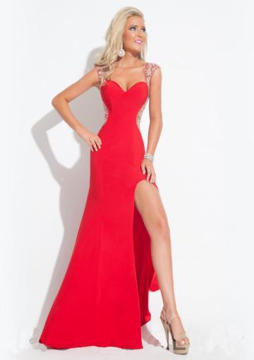 Wedding - Red Sweetheart Cap Sleeves Split Front Floor Length Beading Elastic Satin