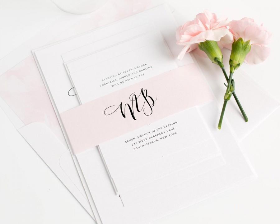 Wedding - Calligraphy Wedding Invitation - Blush Pink Invitation - Romantic - Pastel, Watercolor - Flowing Calligraphy Wedding Invitation - Sample Set