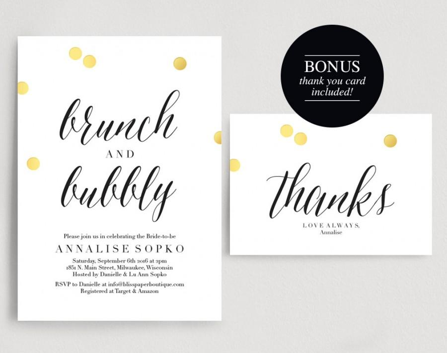 Wedding - Bridal Brunch Invitation, Bridal Shower Invitation, Brunch and Bubbly Invitation, Wedding Shower Invite, PDF Instant Download
