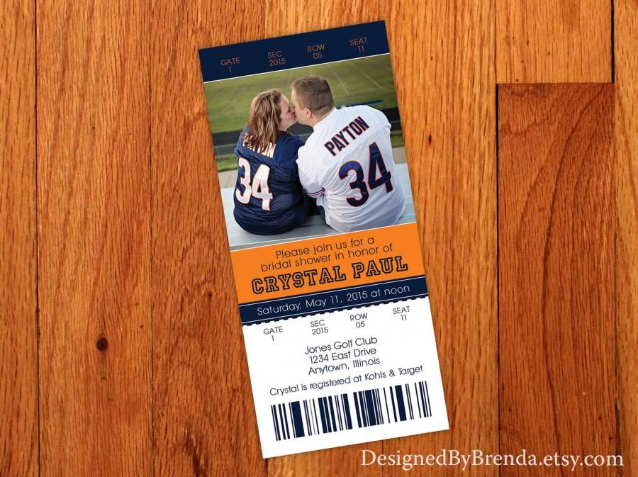 Wedding - Ticket Bridal Shower Invitation - Blue & Orange - Can be any colors - Sports Themed - Also can be Wedding Rehearsal Dinner or Save the Dates