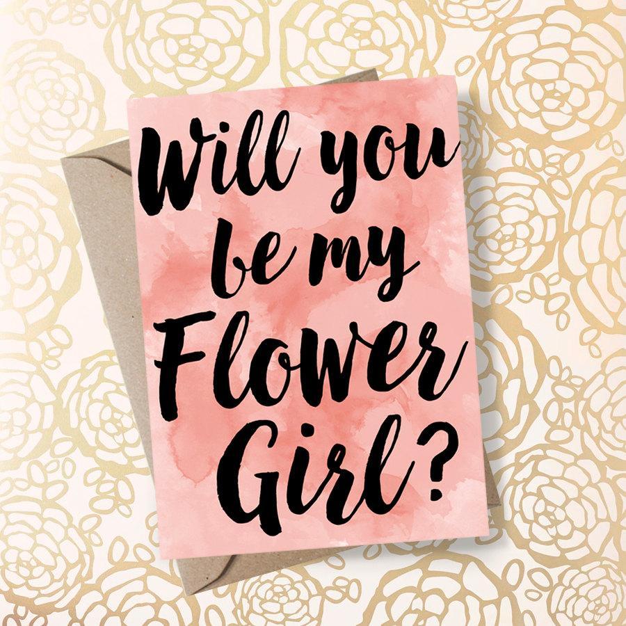 زفاف - Will You Be My Flower Girl Blush Wedding Flower Girl Gift Asking Flower Girl Flower Girl Proposal Will You Be my Flowergirl - Printable Card