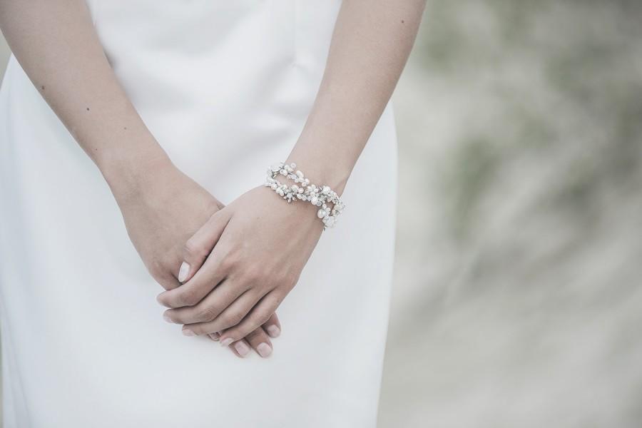 Свадьба - Bridal Bracelet, Pearl Bracelet ,  Wedding Pearl Jewelry , Cuff Bridal Bracelet, Opal Bracelet, Floral Bridal Bracelet, Wedding Jewellery