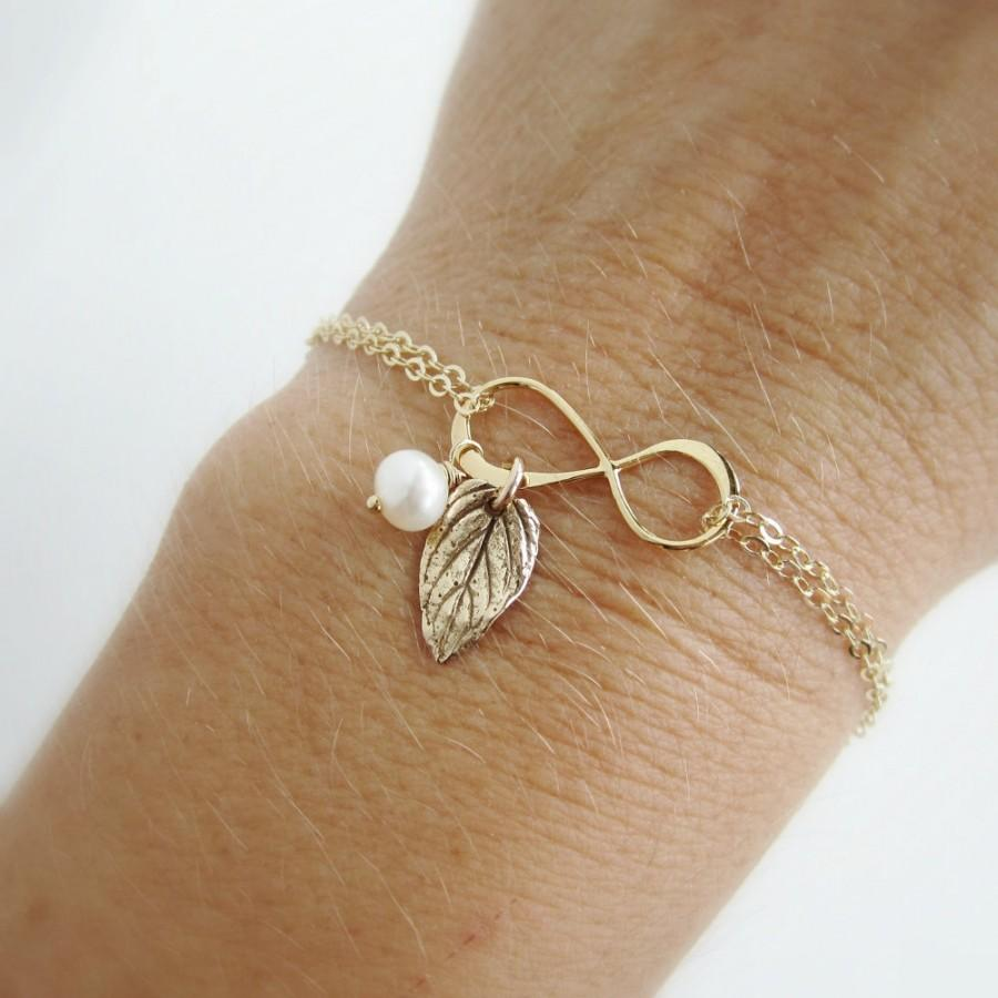 Gold Mothers Bracelet Infinity With Leaf Charm Mother Of The Bride Gift Groom For Mom Jewelry