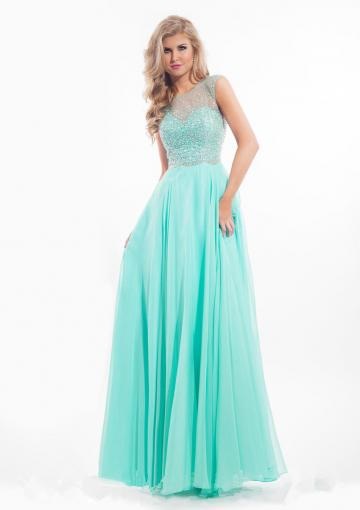 Mariage - Fuchsia Straps Green Open Back Crystals Chiffon Ruched Floor Length