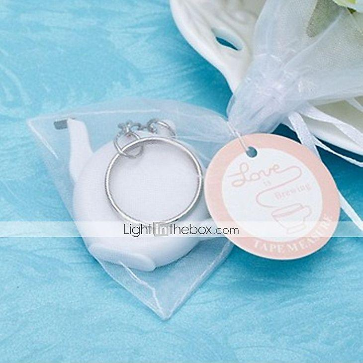 Mariage - Recipient Gifts - 1Piece/Set, Teapot keychain with tape measure Baby Shower Favors, Bridal Shower Favors