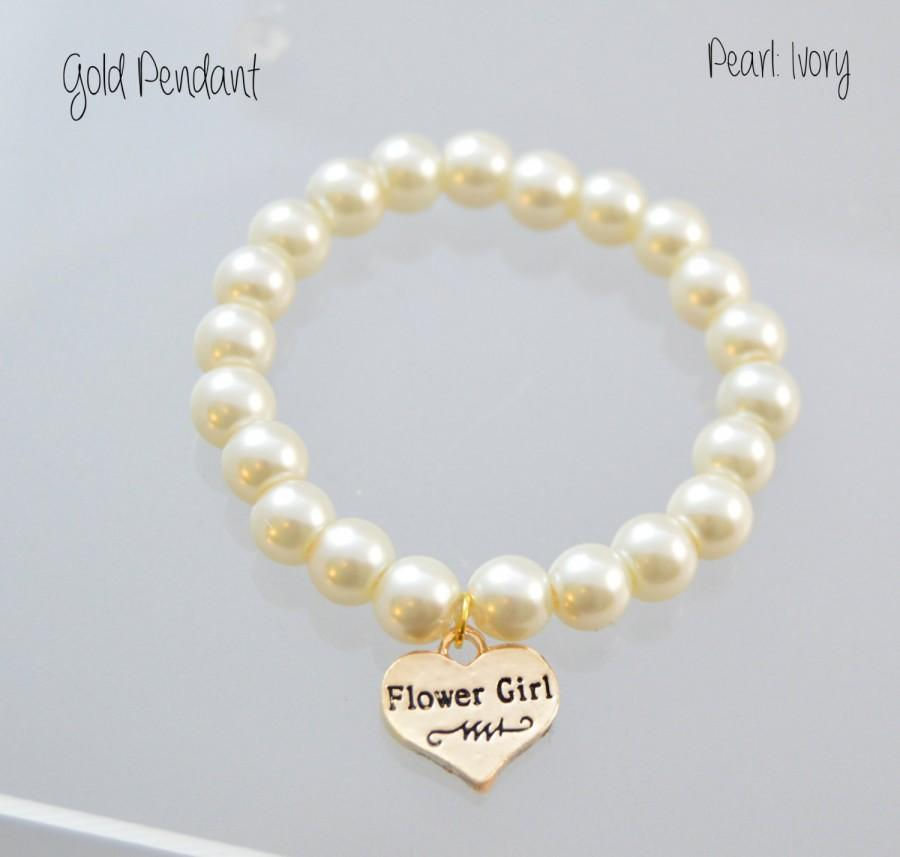 Gold Flower Girl Bracelet Heart Stretch Pearl Bracelet Wedding