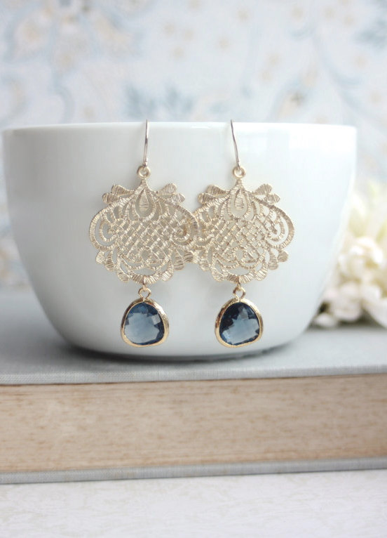 Sapphire blue chandelier earrings navy blue dark blue gold lace sapphire blue chandelier earrings navy blue dark blue gold lace scroll earrings something blue blue and gold wedding bridesmaids gift aloadofball Image collections