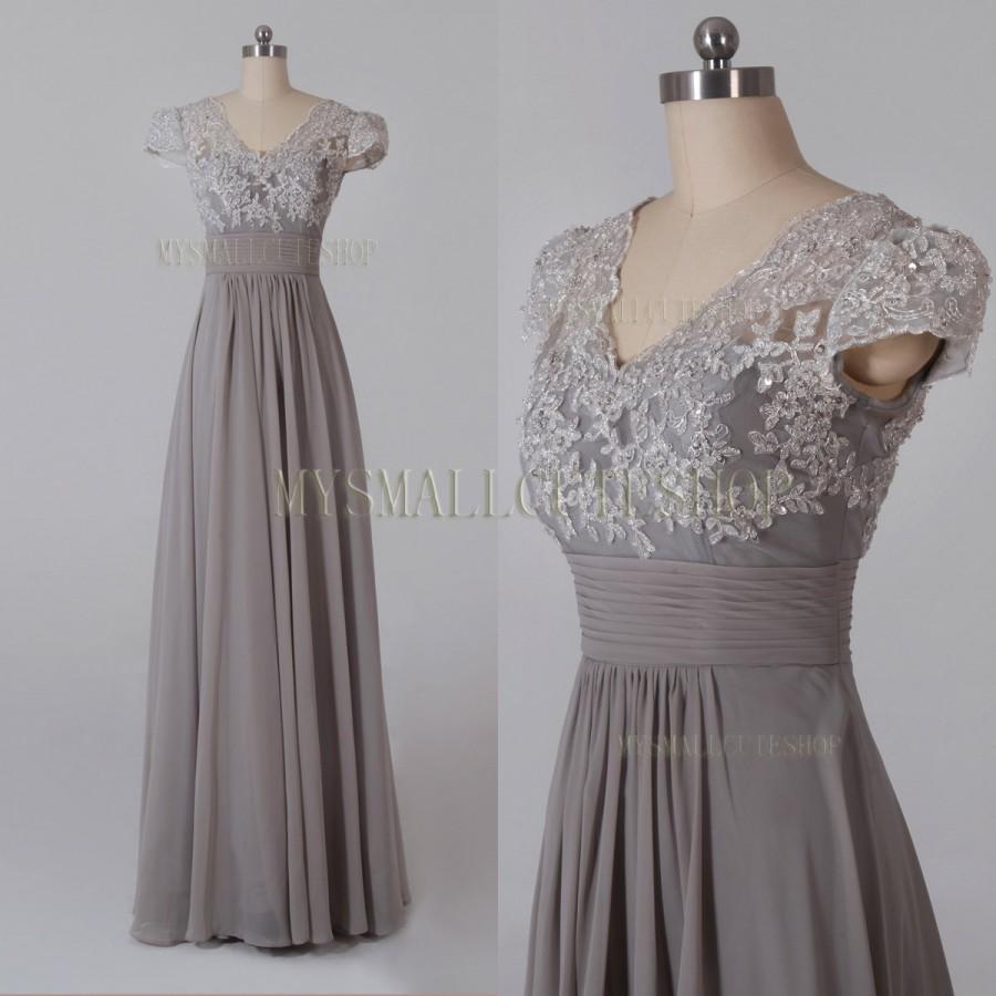 Mariage - Gray bridesmaid dress,Chiffon prom dress,Floor-length formal dress,A-line party dress,V-neck evening dress,Lace applique women's dress
