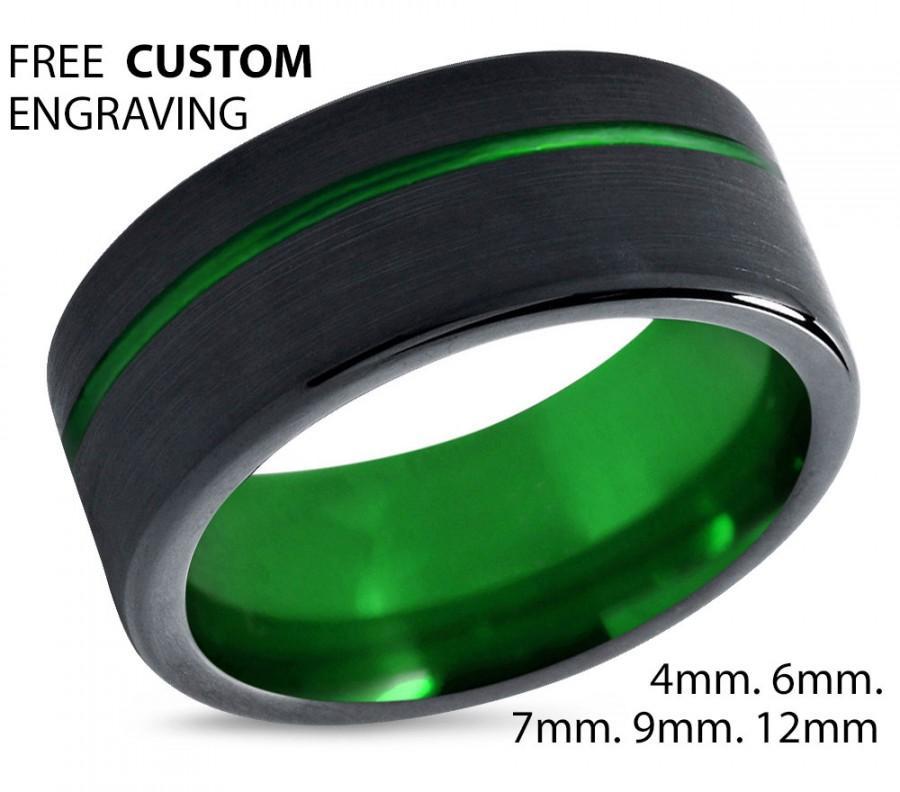 Mariage - Tungsten Ring Mens Black Green Wedding Band Tungsten Ring Tungsten Carbide 9mm Tungsten Man Wedding Male Women Anniversary Matching