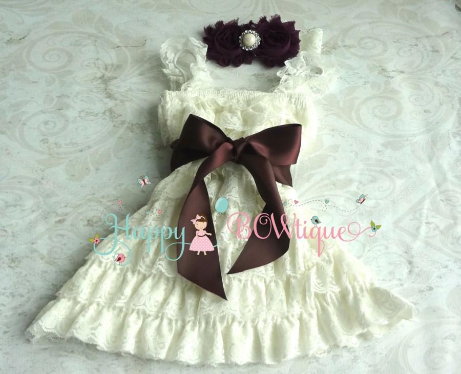Mariage - flower girl dress, Dark Ivory Plum Lace Dress set, baby girls' dress,1st Birthday dress, Flower Girls Dress,Ivory dress,Rustic Country dress