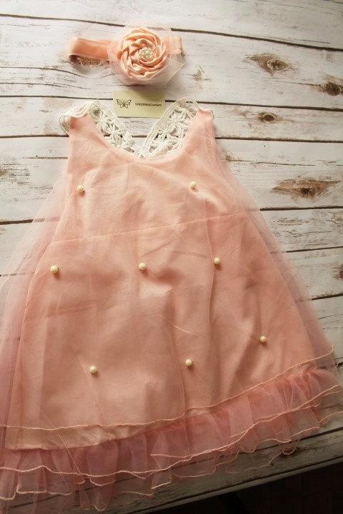 Mariage - Shabby Chic Blush Pink Girls Dress- Blush Pink GFlower Girl Dress- Pink Lace Girl Dress