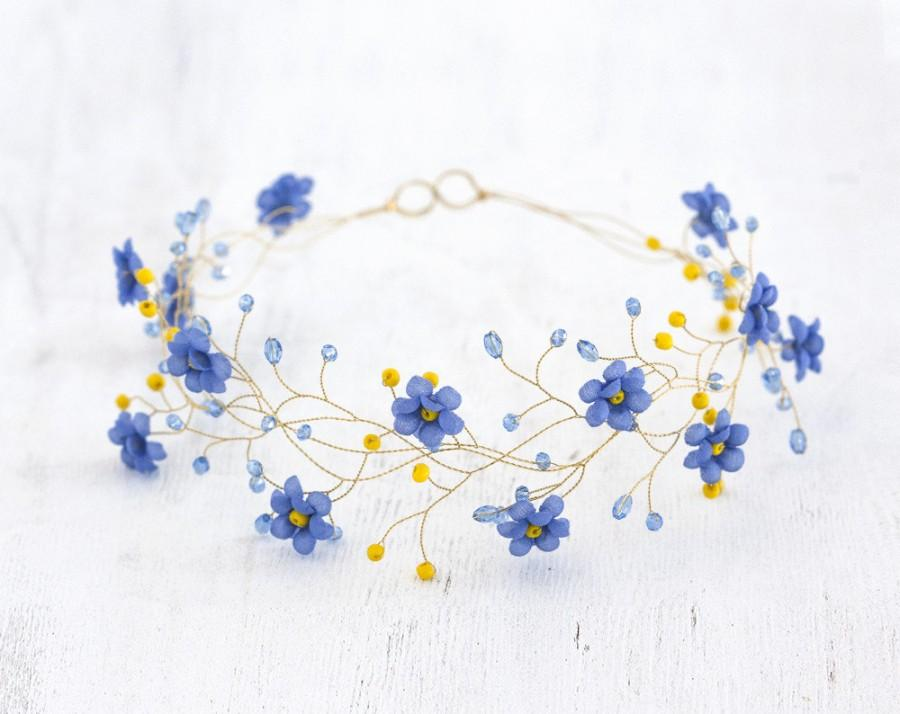 Mariage - 32_Gold tiara, Wedding hair piece, Blue circlet of flowers, Forget-me-not circlet, Floral headband. Hair accessories bride, Country wedding.