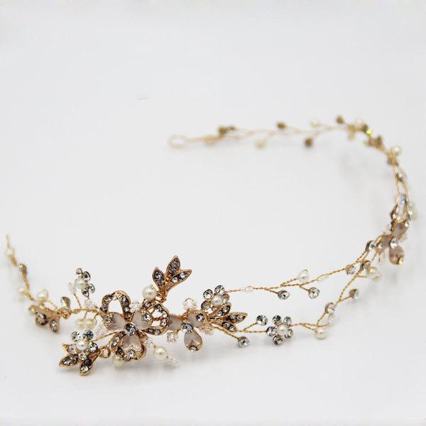 زفاف - Ready to ship Gold or Silver Wire Tiara, Crystal Hair Wreath Vine Leaf, Twisted Wire Tiara, Crystal Crown, Crystal Bridal Tiara