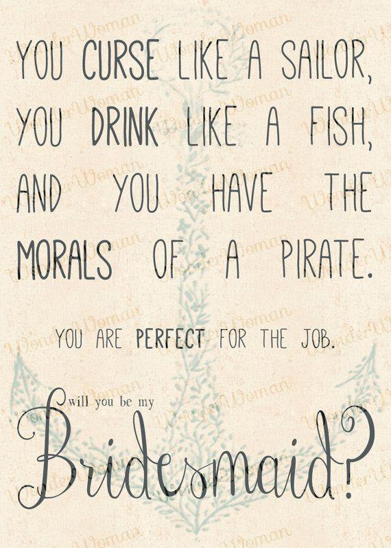 Curse Like A Sailor, Drink Like A Fish... Bridesmaid Invitation ...