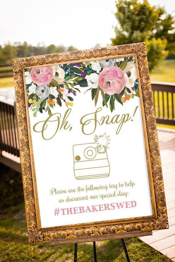 Wedding - Hashtag Wedding Printable, Hashtag Wedding, Large Custom Wedding Sign, Blush And Gold Wedding Decor, Oh Snap Wedding Sign