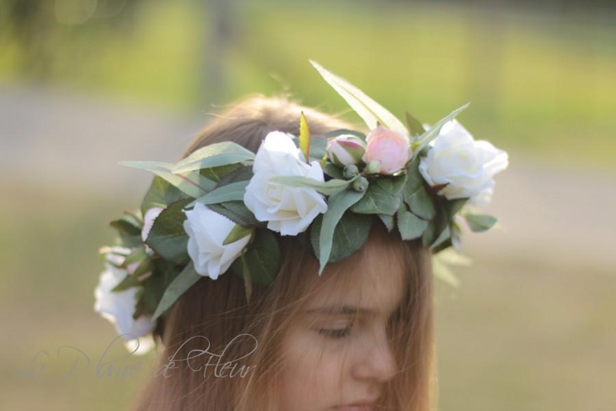زفاف - Sweet Bella - white and pale pink floral crown. Silk flower crown, hair circlet. Flower and foliage hair accessory.