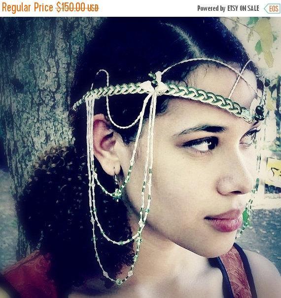 زفاف - ON SALE Elven Renaissance Art Nouveau Headdress, Tribal Bellydance Costume, Festival Fashion, Boho Wedding Circlet