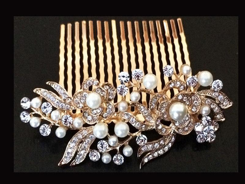 زفاف - Gold Plated Off-White Ivory Pearl & Austrian Crystal Bridal Hair Comb Wedding Hair Piece Clip Tiara Slide Fascinator Vintage - 05G