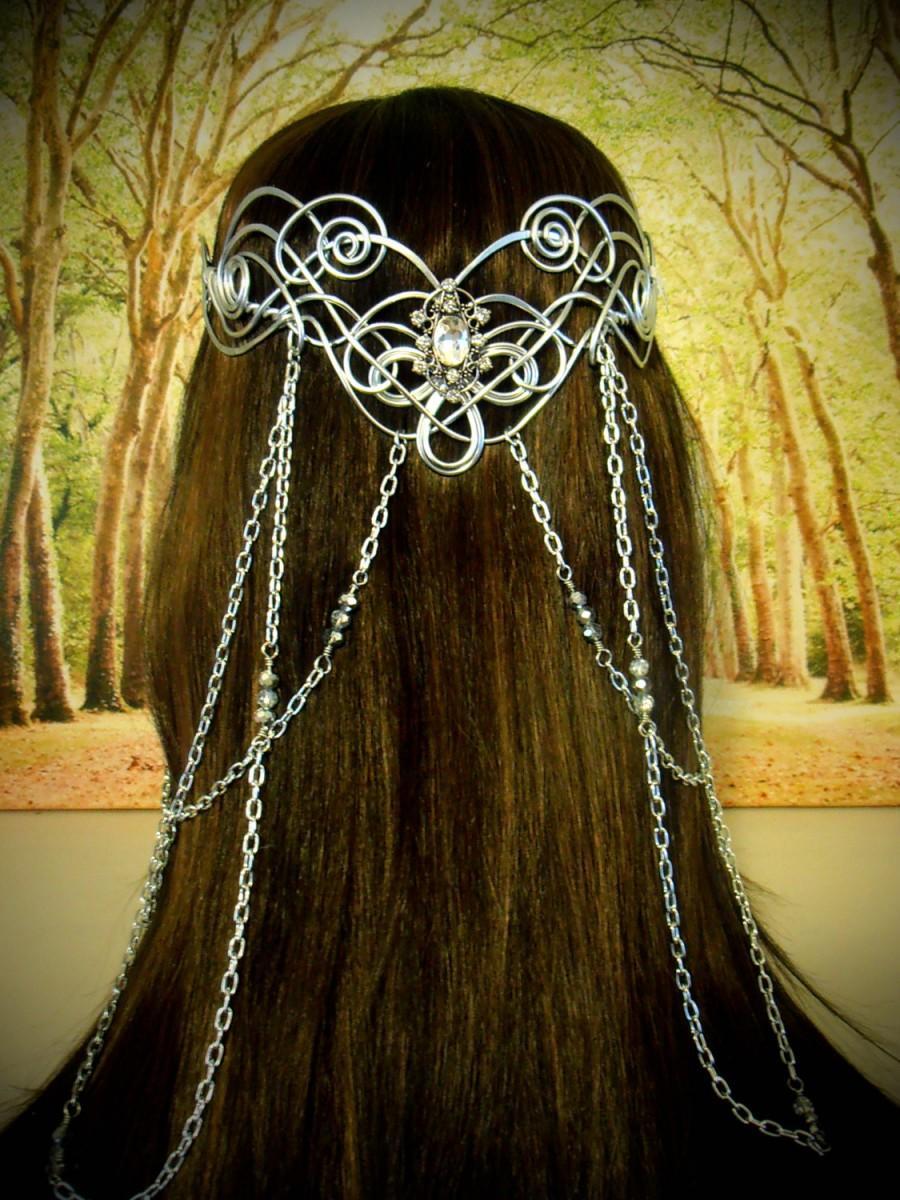 زفاف - Elven Coronation Circlet - Celtic Hand Wire Wrapped - Beaded Chains - Bridal Tiara Crown Queen Art Nouveau
