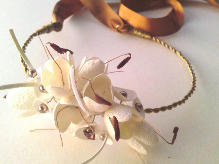 زفاف - Pure silk cocoon flower and swarovski bridal wreath - hair fascinator- bridal hair accessories-ready to ship