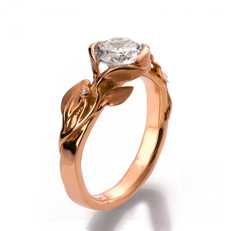 Свадьба - Leaves Engagement Ring No.10 - 18K Rose Gold and Diamond engagement ring, unique engagement ring, leaf ring, filigree, art nouveau, antique